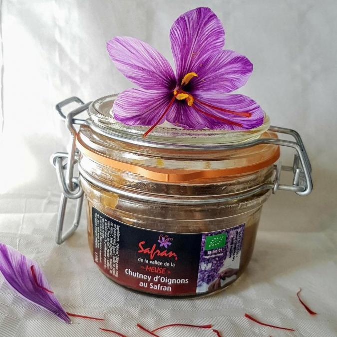 SAFRAN DE LA VALLEE DE LA MEUSE - Chutney d'oignons bio au safran 110g - Chutney