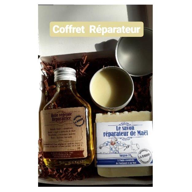 Savonnerie la Brique - Nature et Progrès - Coffret Réparateur - 1 savon réparateur de Maël au miel / 1 baume nourrissant / 1 huile réparatrice - Coffret (soin)