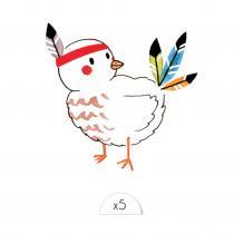 Sioou - Oiseau indien x5 - Tatouage éphémère