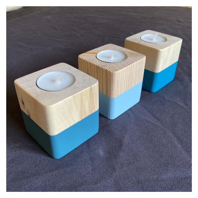 SORGA Créations - Bougeoirs Cubes Bleus - Bougeoir - bougie(s)