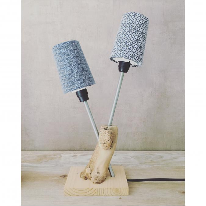 """SORGA Créations - Lampe """"Vigne & Bleu"""" - Lampe d'ambiance"""