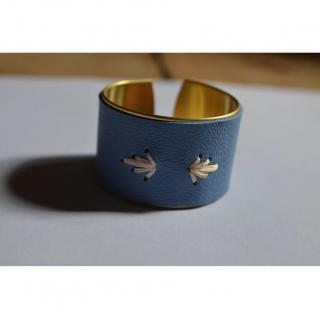 Soyeuse - Manchette palmettes cuir bleu - Manchette