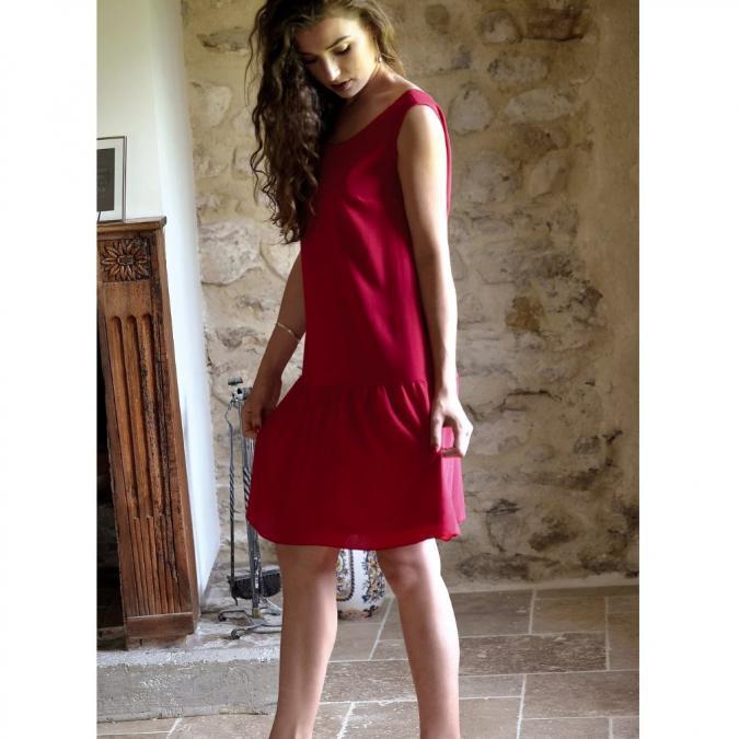 Soyeuse - Robe Gabrielle crêpe de soie - Robe - Rouge