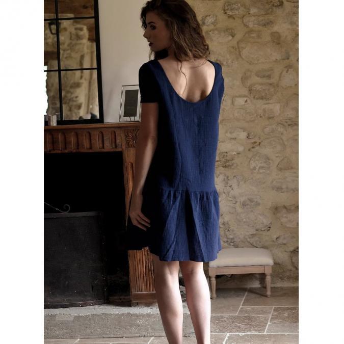 Soyeuse - Robe Victoria Gaze de coton - Robe - Bleu