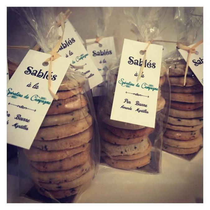 Spiruline de campagne - Sablés à la spiruline et myrtilles - Biscuit
