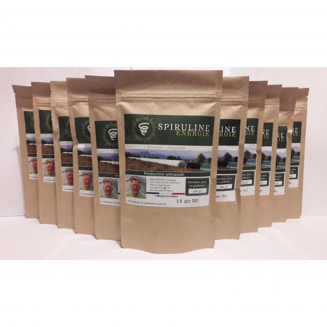 Spiruline Énergie - 10 sachets de spiruline pure en pailletes (10x100g) + 1 gratuit - Spiruline