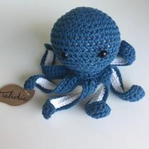 TALICHIC - Pieuvre Bleu Touareg Blanc - Peluche - 3 à 5 ans