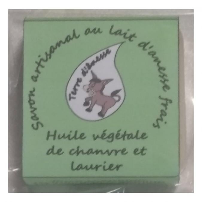 Terre d'ânesse - Savon artisanal au lait d'ânesse frais - Chanvre / laurier- - Savon - 0,100