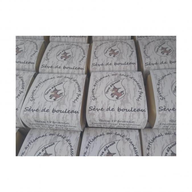 Terre d'ânesse - Savon artisanal au lait d'ânesse frais - Sève de bouleau- - Savon - 0,100
