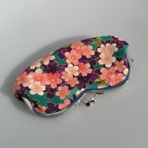 Terre de passion - Etui à lunettes, porte monnaie en coton japonais violet rose, fermoir métal - Etui pour écouteur