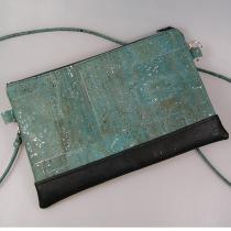 Terre de passion - Pochette, petit sac bandoulière en liège bleu gris et noir - Pochette (maroquinerie) - Bleu