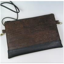 Terre de passion - Pochette, petit sac bandoulière en liège marron et noir - Pochette (maroquinerie) - Marron