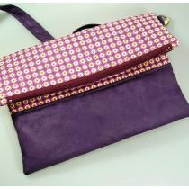 Terre de passion - Sac à main, pochette pliée en coton et suédine violet - pochette, sac à main