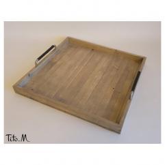 Tito. M - Grand plateau de service en bois grisé, poignées aluminium, tissu type cuir - Plateau