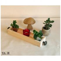 Tito. M - Plateau en bois long, blanc, milieu de table (Bougies, aromates) ; Tiroir à épices - Plateau