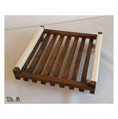Tito. M - Support porte plante sur roulettes transparentes, chêne foncé & corde coton - Support porte-plante