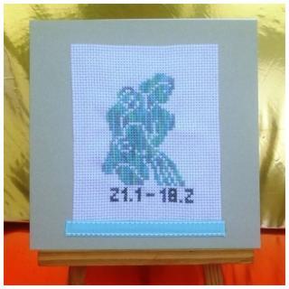 Ty cath créas breizh - Carte Signe du zodiaque Verseau brodée main - Carte brodée