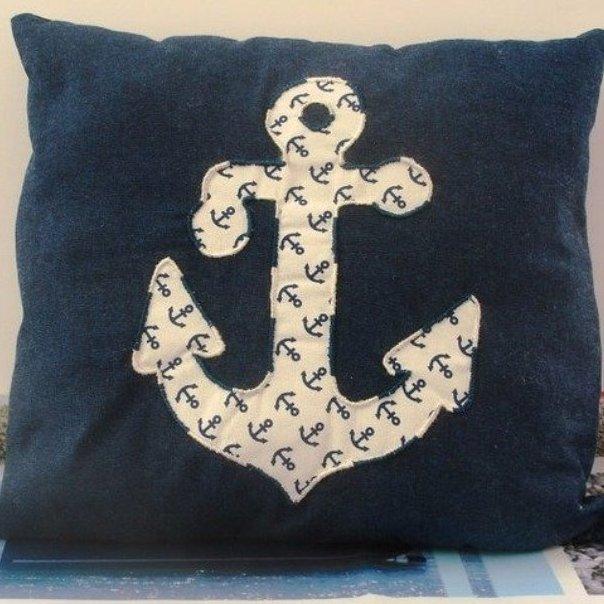 Ty cath créas breizh - Coussin Ancre de marine bleu et blanc en appliqué - Coussin - Bleu