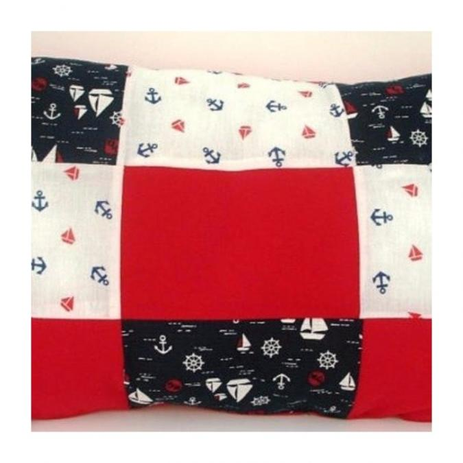 Ty cath créas breizh - Coussin bord de mer rectangle effet patchwork - Coussin - Rouge