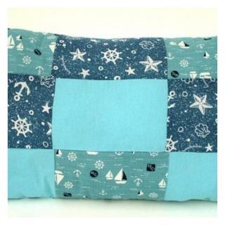 Ty cath créas breizh - Coussin effet patchwork bleu mer rectangle fait main - Coussin - Bleu