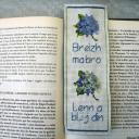 Ty cath créas breizh - Marque-pages Hortensias brodé texte en breton - Marque-page