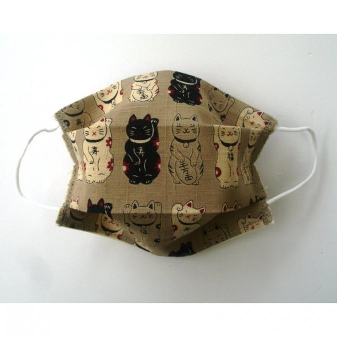 Ty cath créas breizh - Masque Maneki Neko enfant Beige - Accessoires.