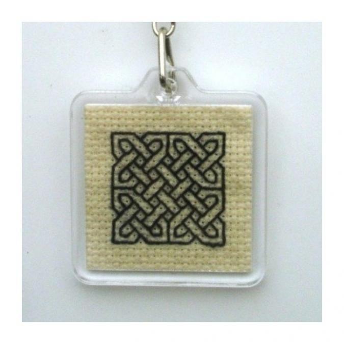 Ty cath créas breizh - Porte-clés carré noeud celtique brodé main - Porte-clés