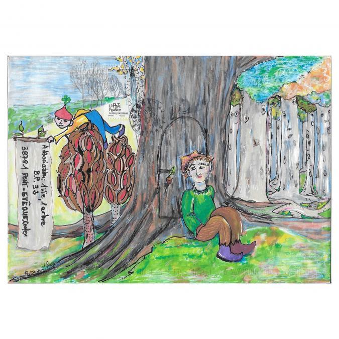 Une vie, un arbre - 19-147 - enveloppe d'artiste (Art Postal)