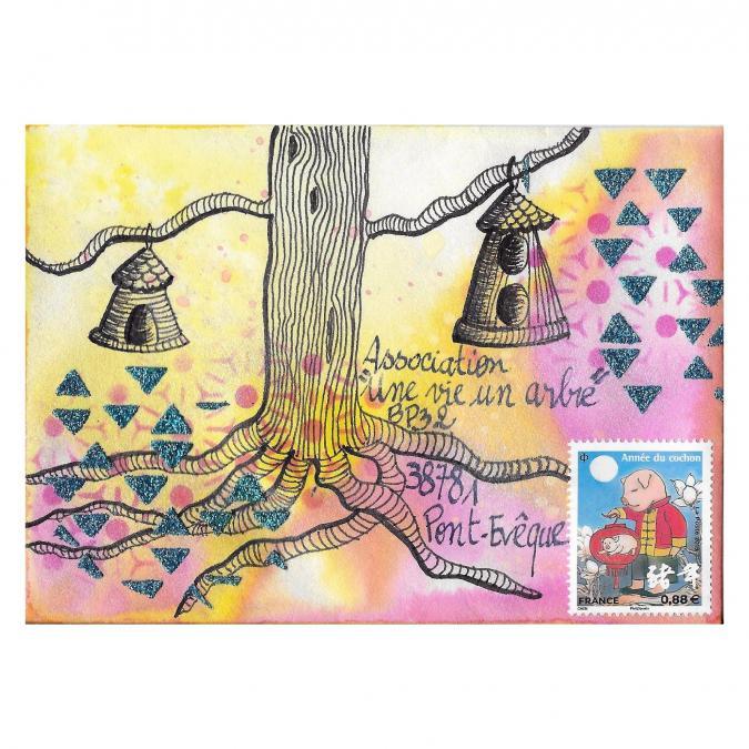 Une vie, un arbre - 19-291 - enveloppe d'artiste (Art Postal)
