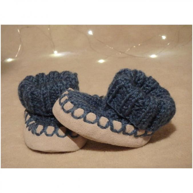 Valcreapassions - Chausson bébé semelle cuir - Chausson