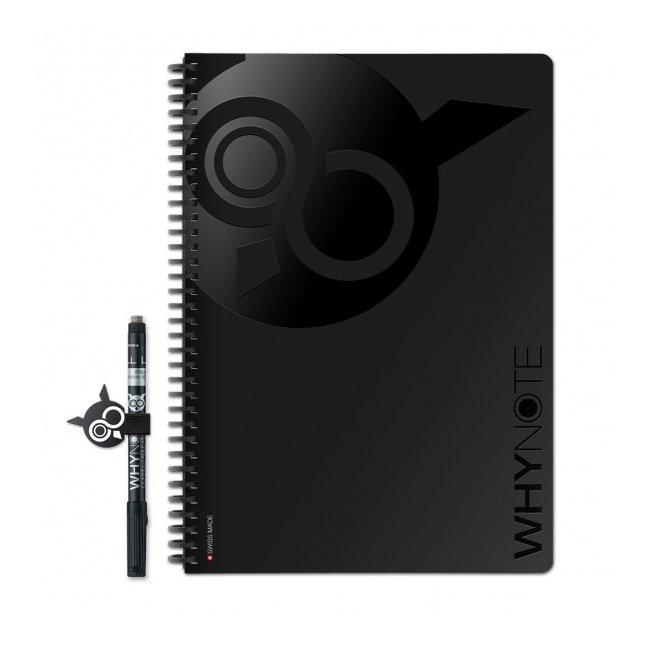 WhyNote - WhyNote Book – A4 – Noir - bloc-note réutilisable