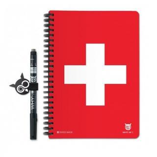 WhyNote - WhyNote Book – A5 – Drapeau Suisse - bloc-note réutilisable