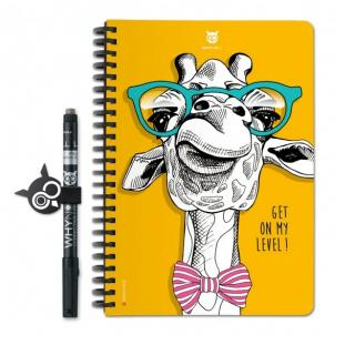 WhyNote - WhyNote Book – A5 – Girafe - bloc-note réutilisable