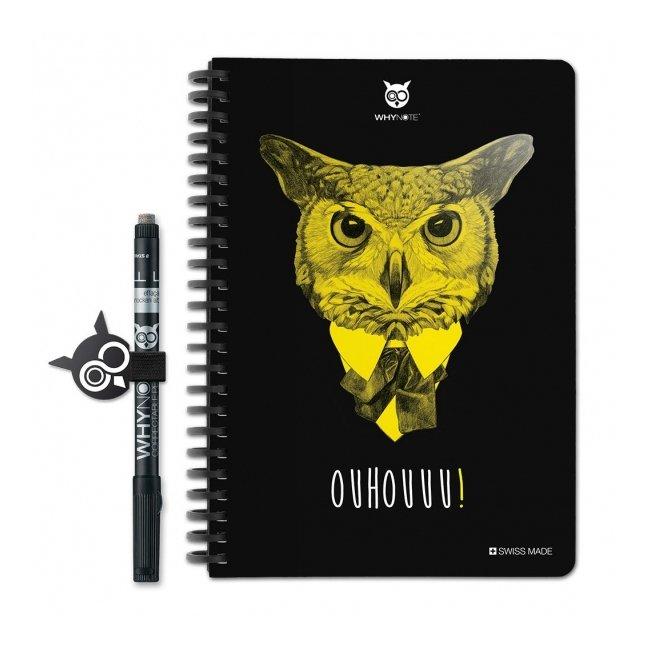 WhyNote - WhyNote Book – A5 – Hibou - bloc-note réutilisable