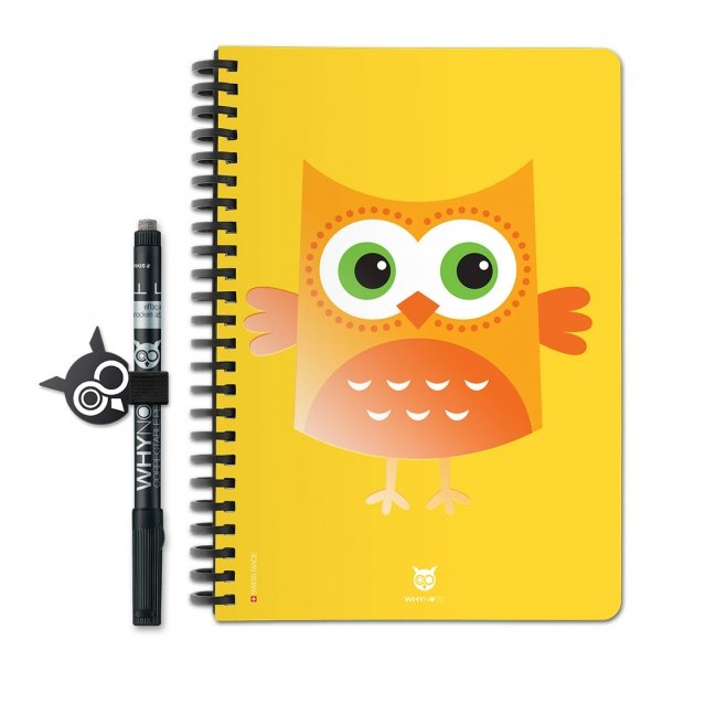 WhyNote - WhyNote Book – A5 – Hiboux Cartoon Jaune - bloc-note réutilisable