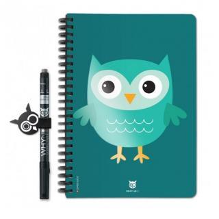 WhyNote - WhyNote Book – A5 – Hiboux Cartoon Vert - bloc-note réutilisable