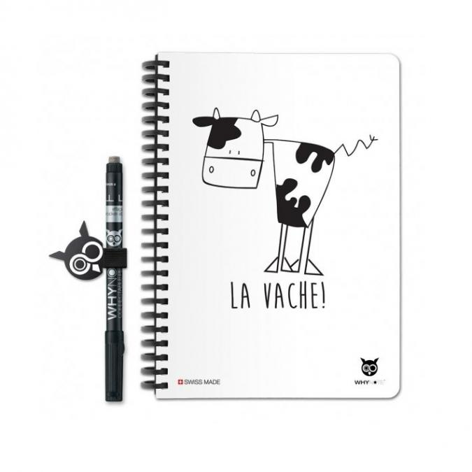 WhyNote - WhyNote Book – A5 – La vache - bloc-note réutilisable