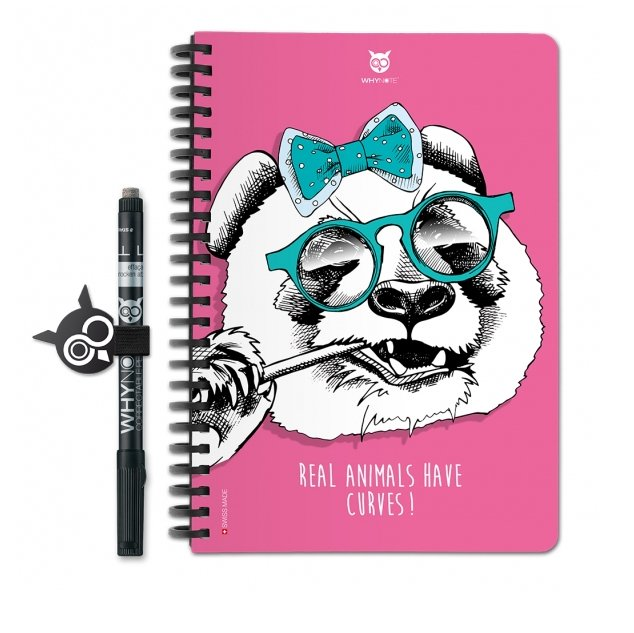 WhyNote - WhyNote Book – A5 – Panda - bloc-note réutilisable