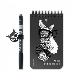 WhyNote - WhyNote Book – Pocket – Zebra - bloc-note réutilisable
