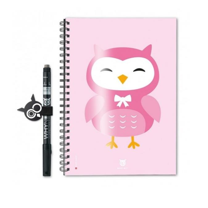 WhyNote - WhyNote ECO A5 – HIBOU CARTOON Rose - bloc-note réutilisable