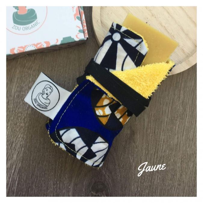 Zou Organic - Emporte-savon en coton éponge et wax - JAUNE - boite à savon