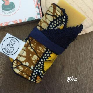 Zou Organic - Emporte-savon en coton éponge oeko-tex et wax - BLEU - Porte-savon